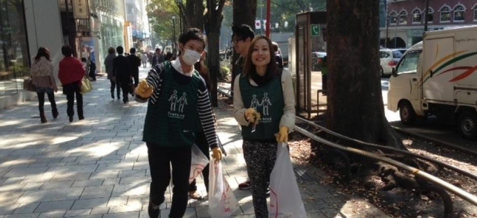 グリーンバードとゴミ拾いボランティア